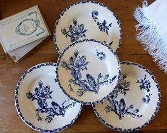 Lot de 3 assiettes, 1 assiette à dessert en faïence de Gien, modèle Cactus /  3 vintage plates, 1 dessert plate from France, Gien