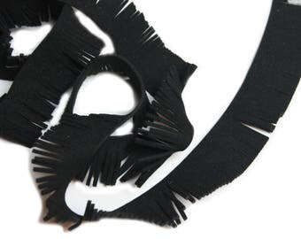 2 meters Black Suede fringe trim