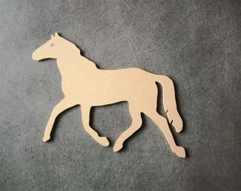 Horse trotting MDF holder to decorate 21 cm x 14 cm