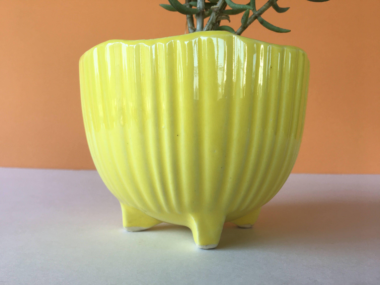 Vintage Yellow Ceramic Planter Art Pottery Flower Pot Succulent