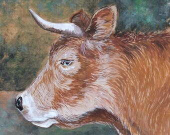 painting on wood: a great cow - Aubrac.
