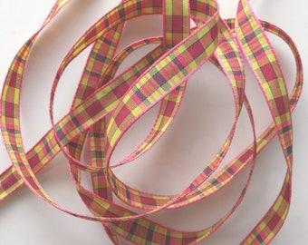 Fancy x 5 m - PLAID green and pink No. 1441 Ribbon