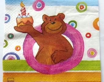 Teddy bear and birthday cake No. 20 napkins   3558