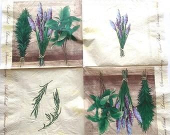 NAPKINS 10 paper - Lavender Basil THYME color green BEIGE REF. 3784