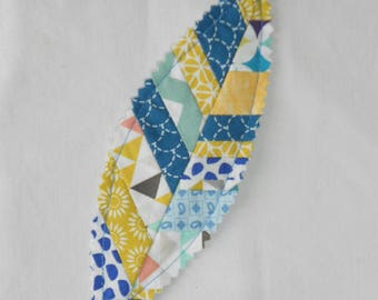 Patchwork blue and yellow feather bookmark