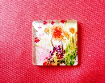 Cabochon glass - 25x25mm - pattern floral