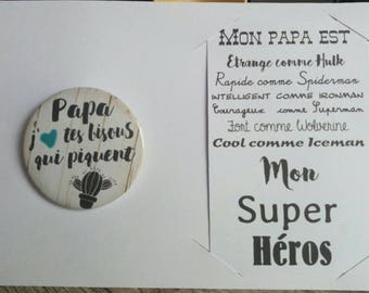 """badge """"Dad, I love your kisses stinging + card"""" gift fathers day"""