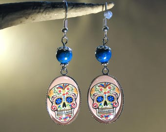 "Earrings in silver, trendy fantasy, ""Death's head skull floral Mexican"""