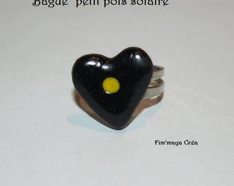 """Solar pea"" black heart ring"