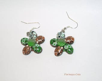 Pierced earrings ethnic Brown and green flowers