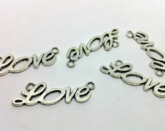 X 1 charm / connector - Love Message love - silver-plated