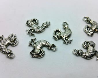 X 1 charm - Rooster farm country Rooster - silver metal
