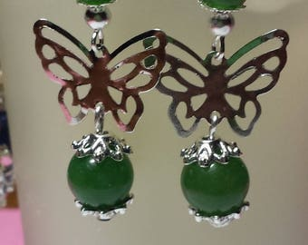 Silver jade butterfly earrings Green