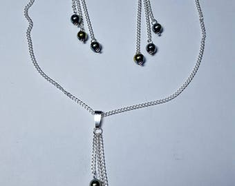 Adornment necklace and earrings cascade green Hematite