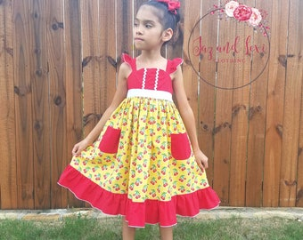 Cherry Dress- Ruffles, Yellow, Red, Girl Dresses, Toddler Dress, Summer Clothing