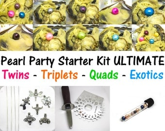 Pearl Party Starter Kit ULTIMATE - 20 Akoya Oysters BULK - Quads Triplets Twins - Pearl Cage Pendant Necklaces - Akoya Oyster Wholesale Bulk