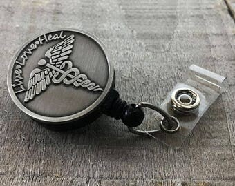 Registered Nurse Badge Holder - Nursing Badge Reel- Retractable ID Badge Reel - Inspirational Live Love Heal - The Fancy Badger Badge