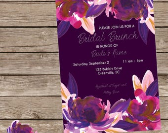 Purple Bridal Brunch Invitation