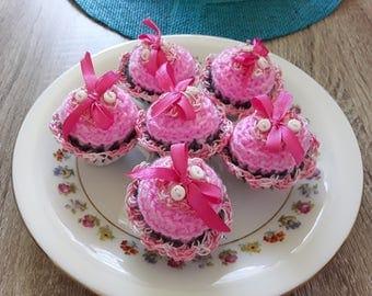 Mini hand made crochet cupcakes