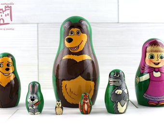 Masha and Bear Cartoon Matryoshka set of 7 pcs Stacking Wooden Russian Nesting Dolls
