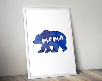 Printable Mama Bear Blue Watercolor Family Wall Art, Downloadable Motherhood Print