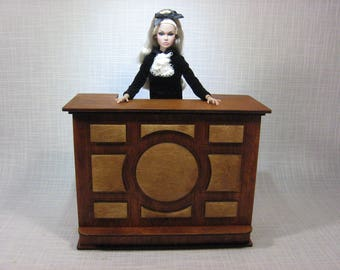 Bar or reception desk for Barbie FR 1:6 1/6 scale diorama NEW table  dollhouse furniture poppy wooden V01
