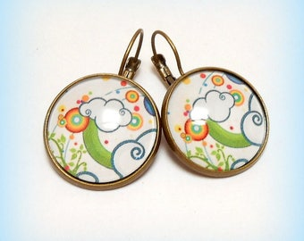 """Earrings cabochon """"Spring clouds"""""""