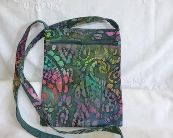 Bag shoulder 2 pouch pockets made of batik fabric