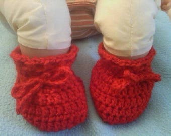 Booties Red 1-3 months baby, mixed