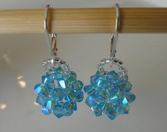Earrings hand made ball Aquamarine Swarovski Crystal beads