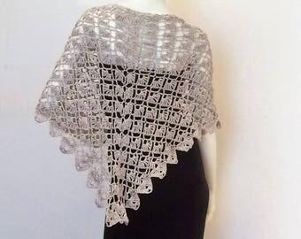 """Sand"" crocheted triangular shawl"