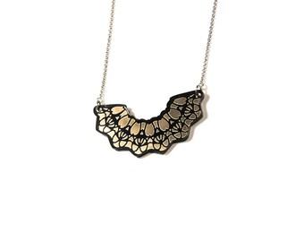 "Bib necklace ""LEILA"" plexiglass mirror gold"