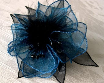 Large barrette blue organza flower with feathers and beads