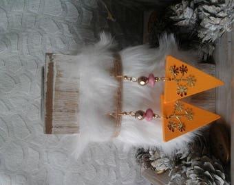 Oriental earrings orange and pink