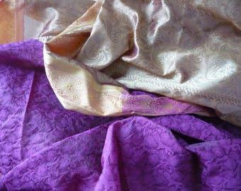 Fabric Hindu sari purple/pink and gold 1 m x 1 m 30
