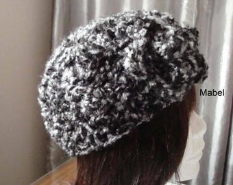 Quality wool Beanie, hat, beret, crocheted, black, gray,