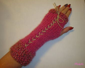 Fingerless gloves arm warmers knit, pink and beige lace, mohair, very warm