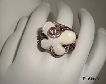 Ring Brown aluminum wire crafted, adjustable, white ceramic butterfly, wedding