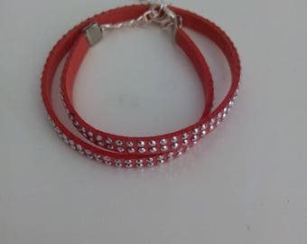 Bracelet red and silver rhinestones
