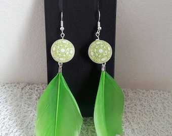 Green earrings, Pearl and feather