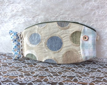 Fish shaped pencil case polka dotted - pouch multiusage
