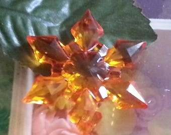 large acrylic transparent, faceted, snowflake, Christmas, mixed color, 45 x 9 mm, hole: 2 mm