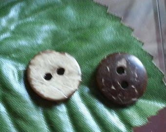Coconut buttons 2 hole, round and flat, CoconutBrown, 13x3mm, hole: 2mm