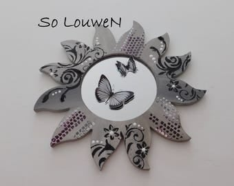 MIRROR butterfly, black, grey, cream, purple and silver. Wall decor