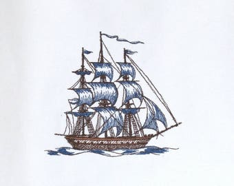 Embroidery for your designs: sailboat boat caravelle 3 masted embroidered on cotton (sewing, decorating, scrapbooking,