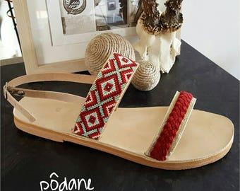 Ayanna miyuki beads and leather sandals