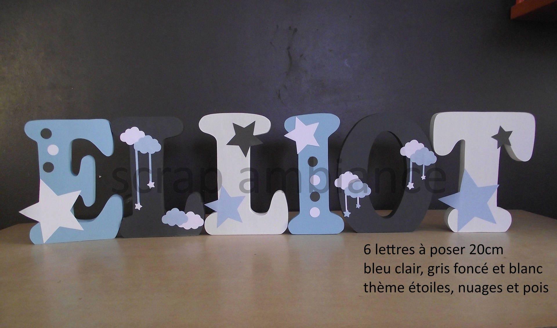 lettre d coration chambre b b enfant lettre en bois pr nom. Black Bedroom Furniture Sets. Home Design Ideas