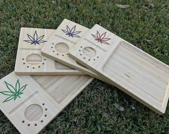 Engraved Bamboo Rolling Tray (Multicolored)