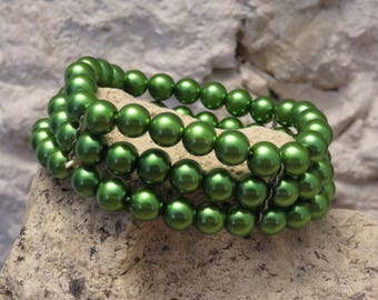 Green pearls MULTISTRAND bracelet