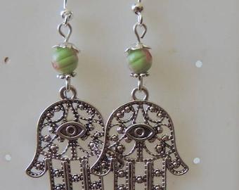 Hands of Fatima or hand of Miriam or hamsa Silver earrings
